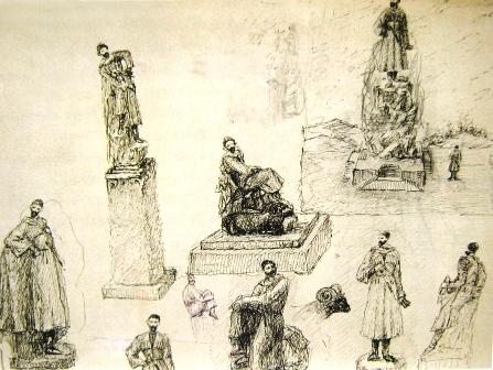 Наброски-эскизы к памятнику К.Хетагурову.