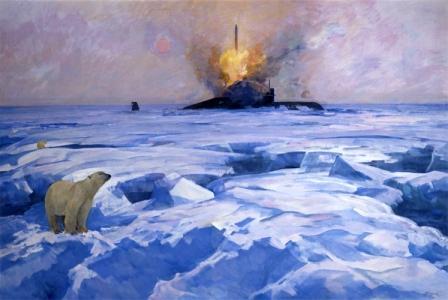 Ракетный залп подводной лодки.