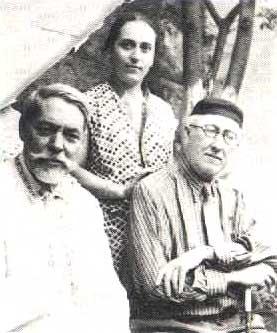 Л. Семенов, Аза Тахо-Годи и выдающийся философ Алексей Лосев. Лето 1954 г. Владикавказ.