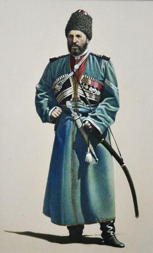 Федор (Сабан) БИЧЕРАХОВ, старший урядник. Имеет наградную шашку.