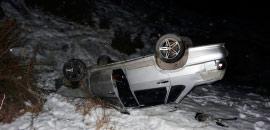 На Транскавказской автомагистрали «ВАЗ-2114» упал в обрыв